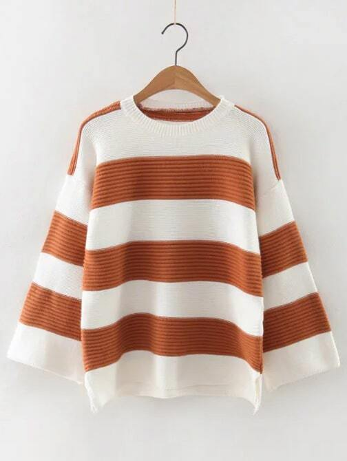 Color Block Slit Side High Low Sweater sweater161015208