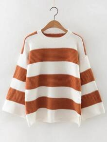 Color Block Slit Side High Low Sweater