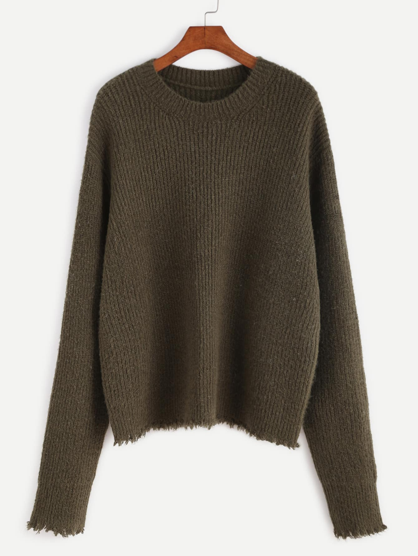 Olive Green Ribbed Knit Frayed Sweater sweater161020450