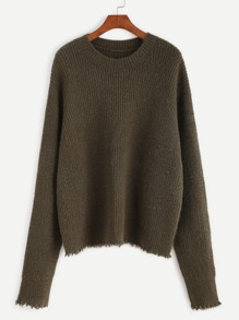 Olive Green Ribbed Knit Frayed Sweater