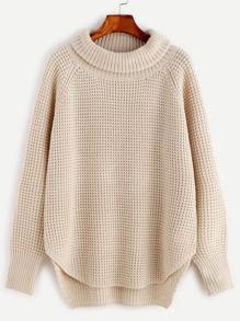 Pull tricoté col enroulé - abricot