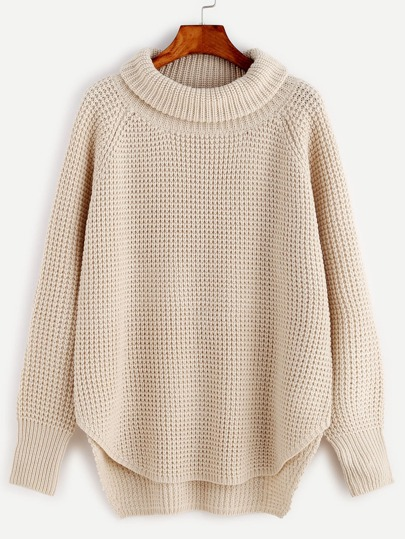 Apricot Waffle Knit Curved Hem High Low Sweater