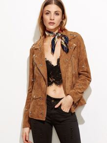 Camel Suede Metal Star Studded Moto Jacket
