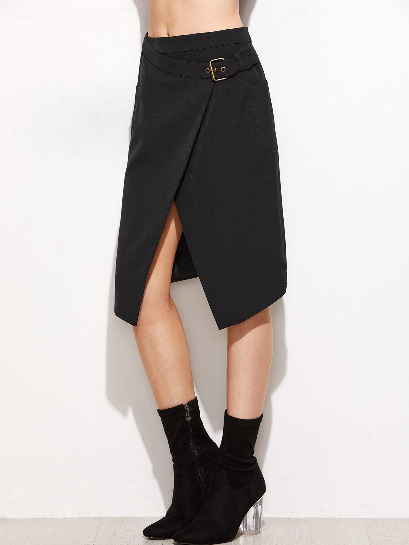 Black Overlap Front Buckle Belted Skirt
