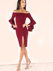 Burgundy Off The Shoulder Bell Sleeve Split Dress