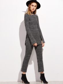 Dark Grey Slit Side Ribbed Sweater With Pants