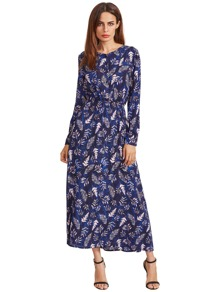 Navy Blossom Print Buttoned Front Dress