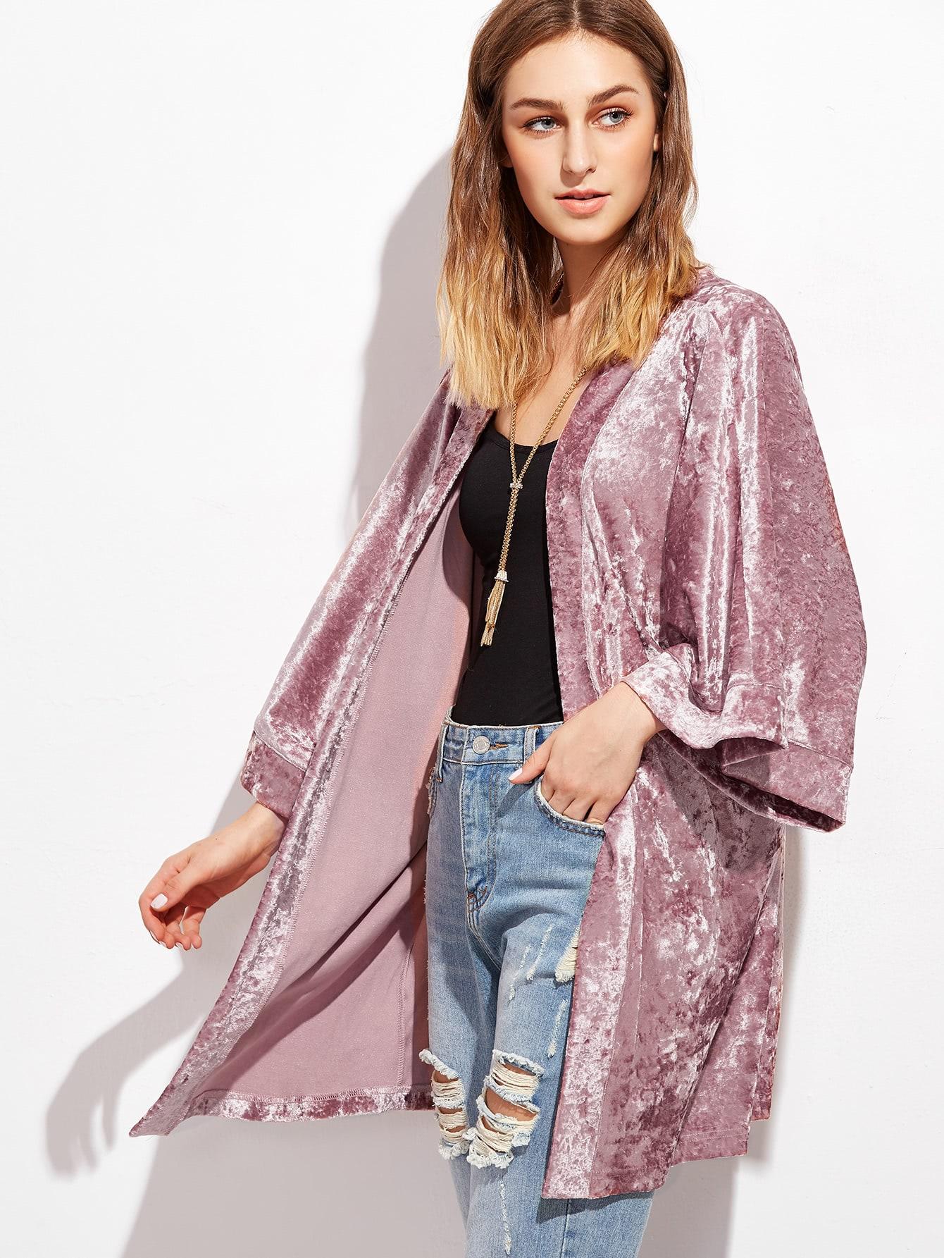 Pink 3/4 Sleeve Crushed Velvet Kimono -SheIn(Sheinside)