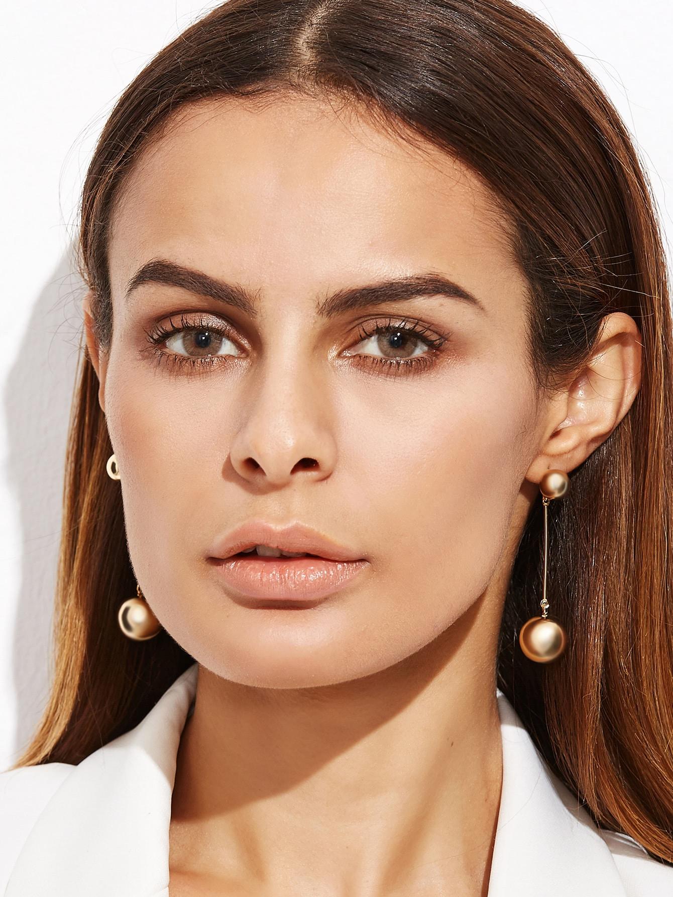 Gold Plated Metal Ball Drop Earrings earringER161012307