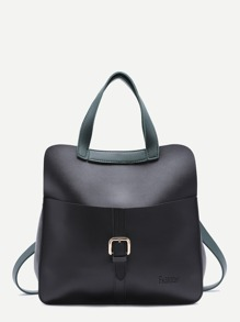 Black Faux Leather Buckled Strap Backpack