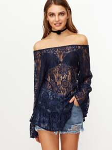 Navy Sheer Ruffle Lace Blouse