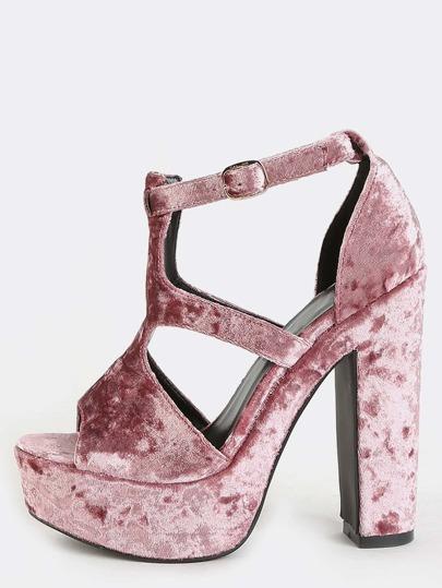 Crushed Velvet Platform Heels MAUVE