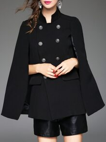 Black Collar Split Sleeve Cape Coat