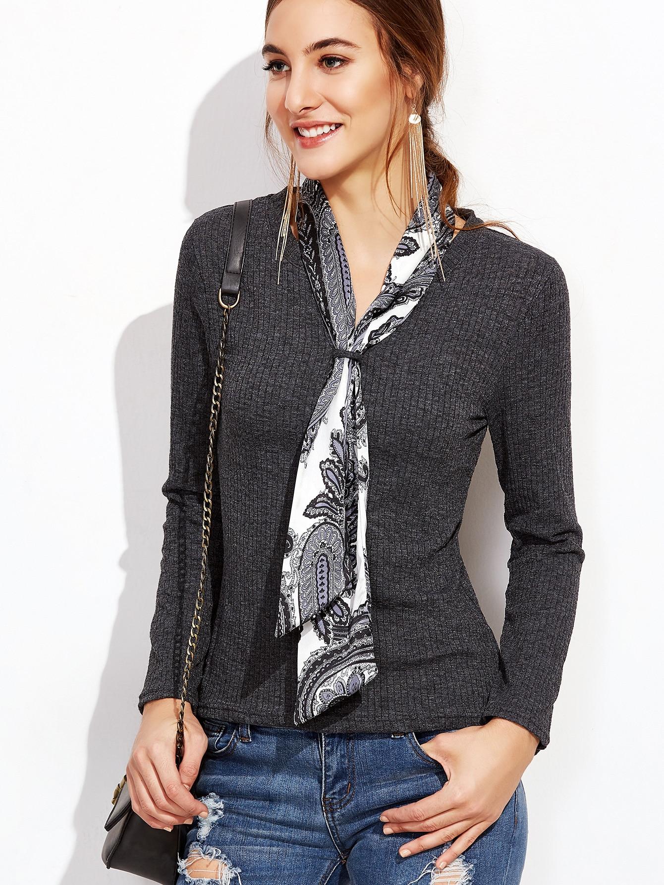 Dark Grey Tie Neck Ribbed Sweater sweater161017002