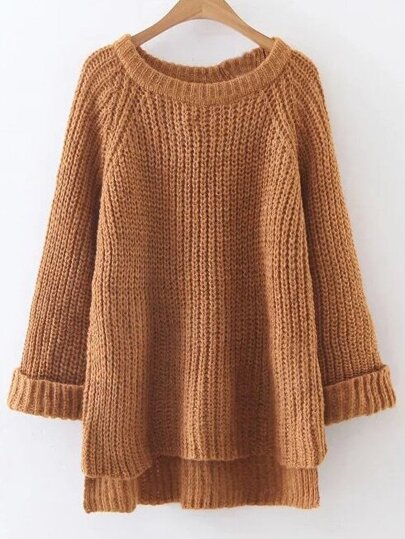 Raglan Sleeve Dip Hem Sweater