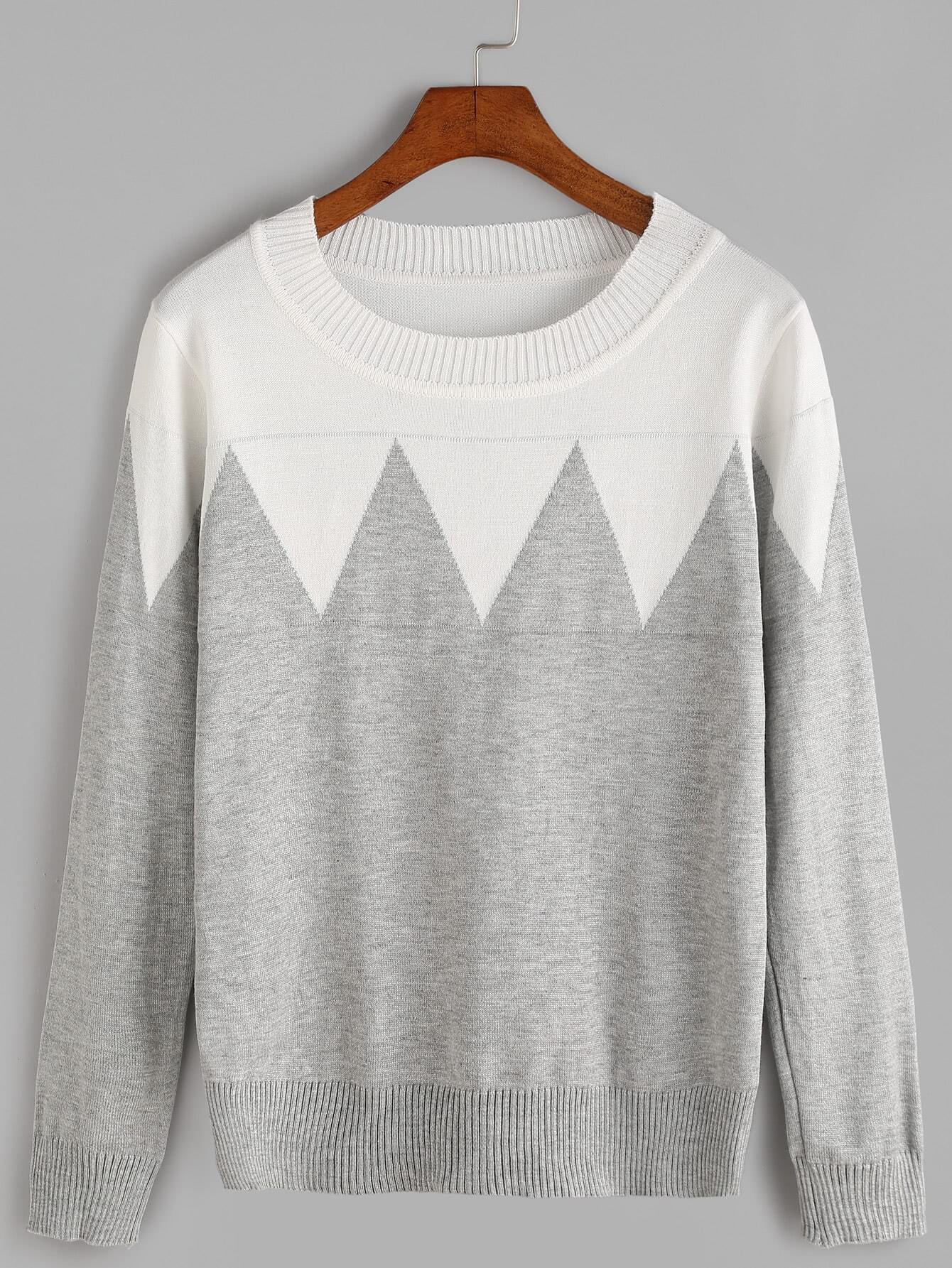 Grey Color Block Ribbed Trim Knitwear sweater161013032