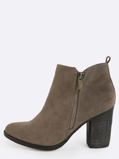 Exposed Zipper Ankle Boots TAUPE