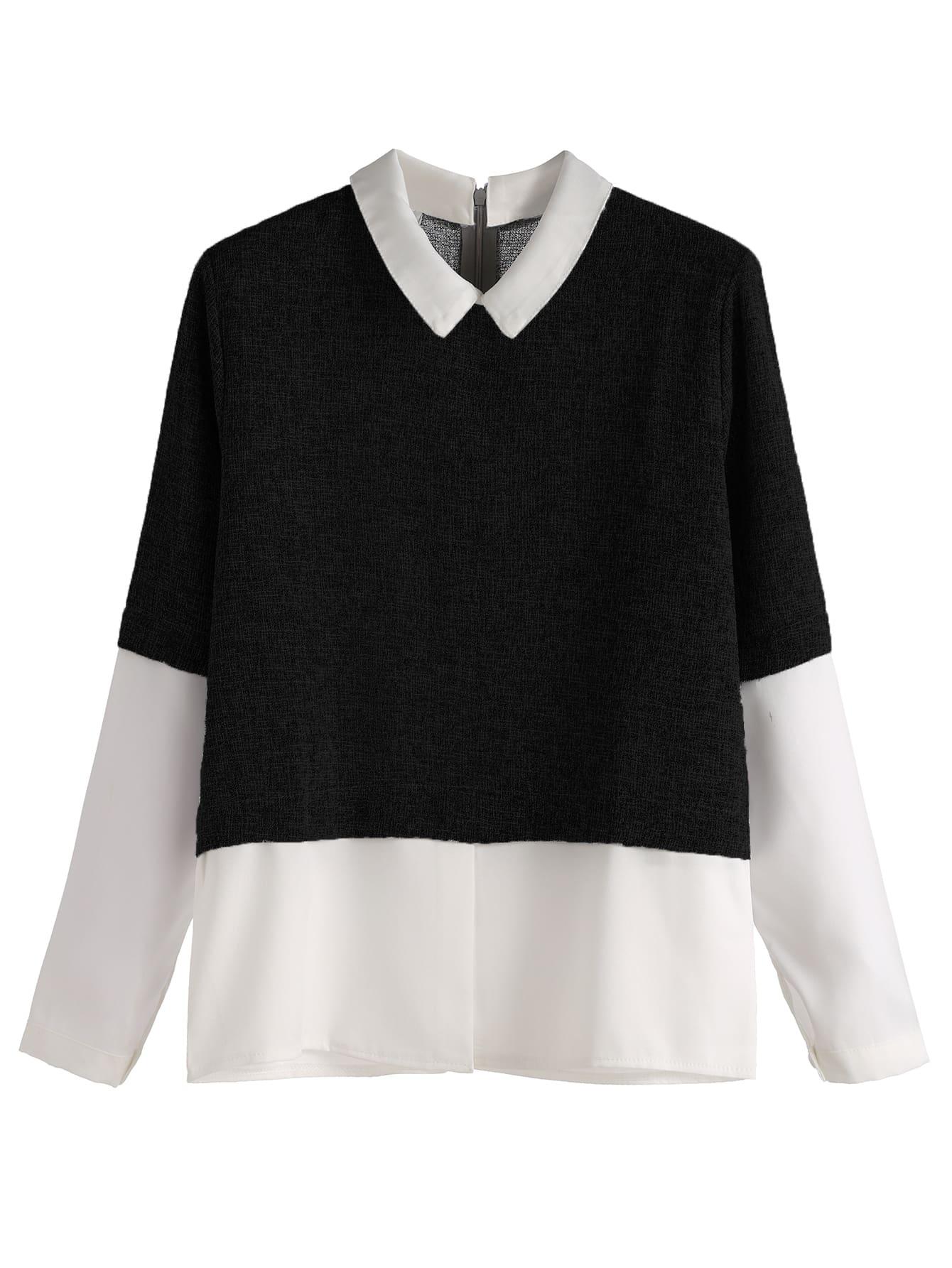Black Contrast Zip Back Top blouse161014103