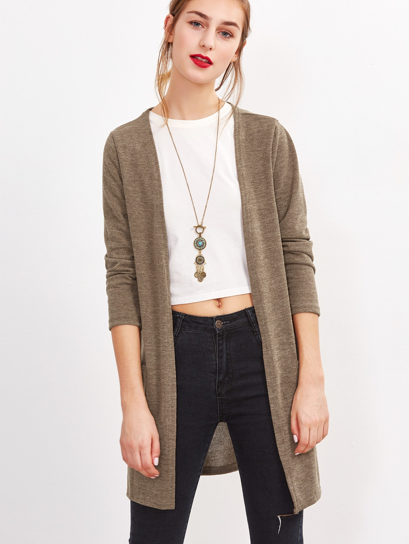 Khaki Long Sleeve Pockets Cardigan -SheIn(Sheinside)