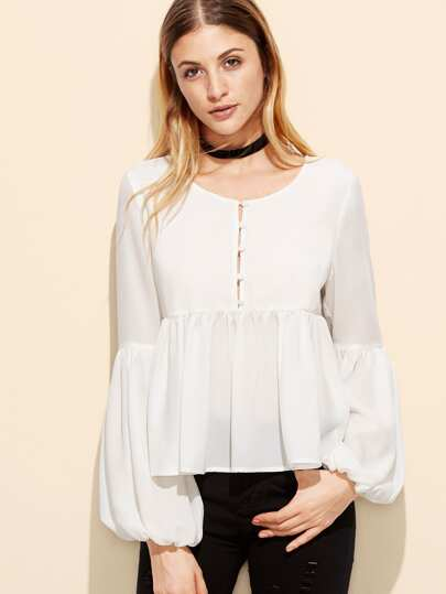 White Button Front Lantern Sleeve Babydoll Top