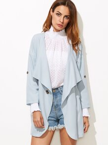 Blue Drop Shoulder Draped Collar Slit Side Coat