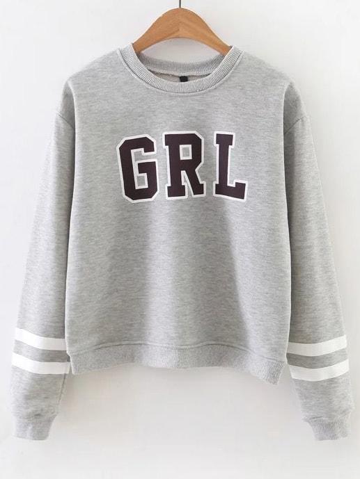 Letter Print Striped Sleeve Sweatshirt sweatshirt161013207