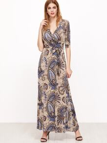 Apricot Tribal Print Self Tie Mxai Dress