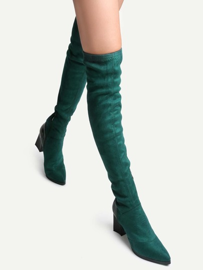 Green Faux Suede Point Toe Chunky Knee Boots