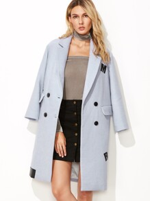 Blue Double Breasted Faux Leather Patch Overcoat