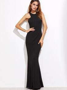 Black Racerback Zipper Back Sheath Dress