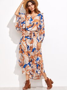 Multicolor Flower Print Self Tie Dress With Cami Top