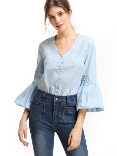 Blue Pleated Lantern Sleeve Button Up Blouse