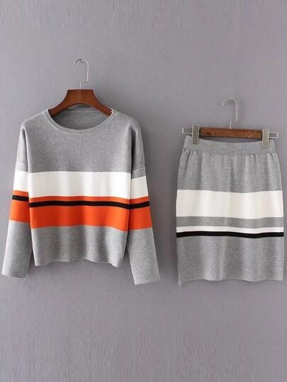 Jersey de hombro caído con falda color combinado - gris