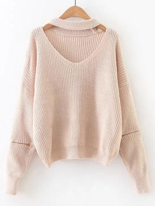 Apricot Choker V Neck Zipper Sleeve Sweater sweater161013218