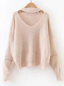 Apricot Choker V Neck Zipper Sleeve Sweater