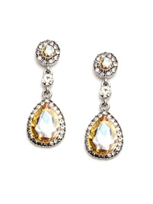 Champagne Rhinestone Encrusted Drop Earrings