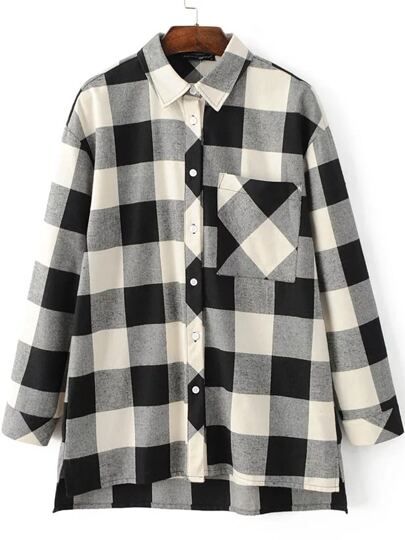 Black And White Plaid Dip Hem Blouse With Pocket