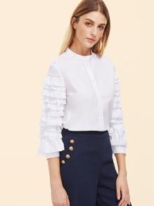 White Band Collar Layered Ruffle Sleeve Blouse
