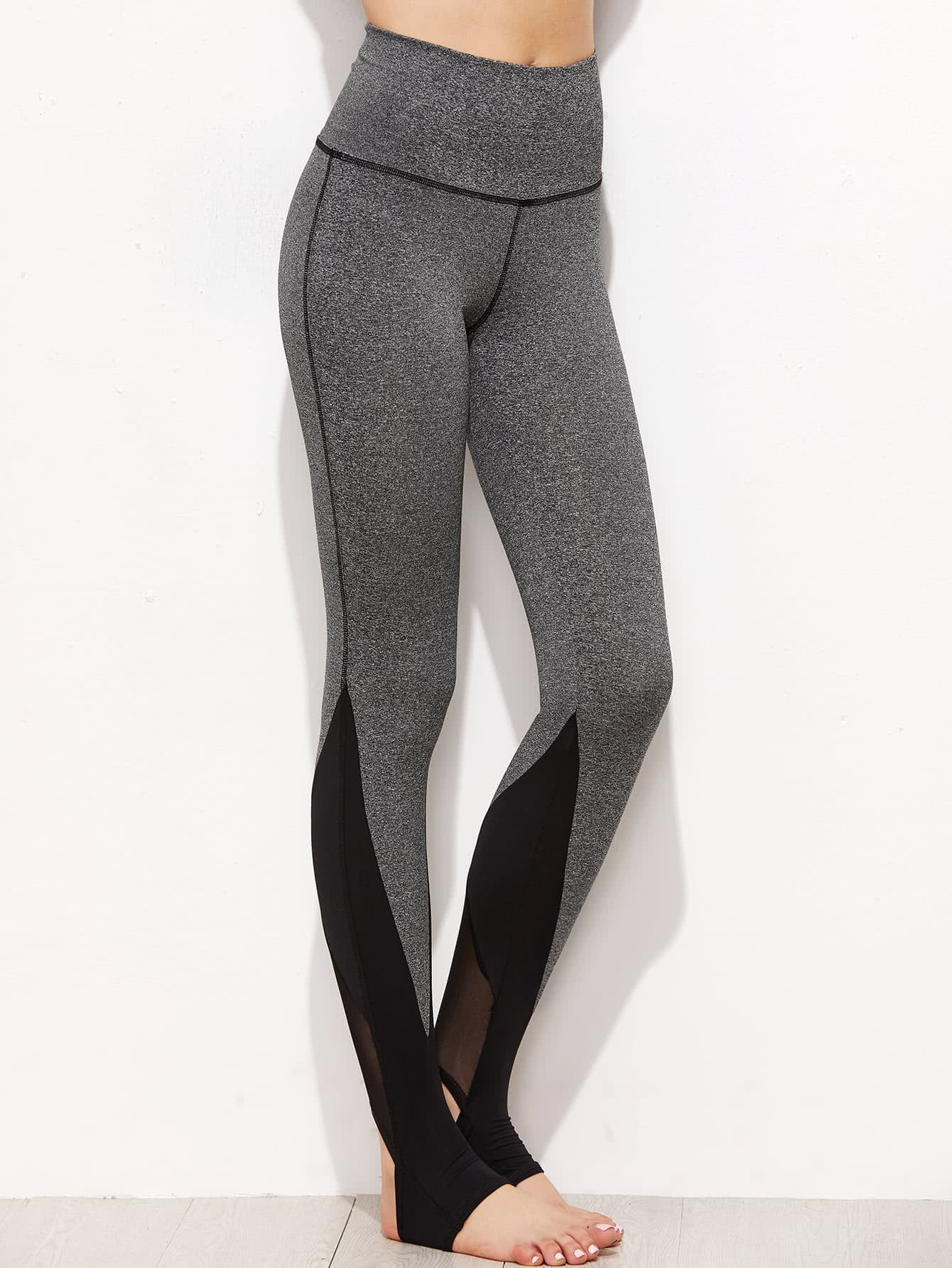 Marled Knit Mesh Panel Stirrup Leggings peacock printed yoga stirrup leggings page 3
