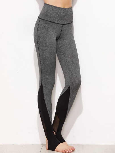 Marled Knit Mesh Panel Stirrup Leggings