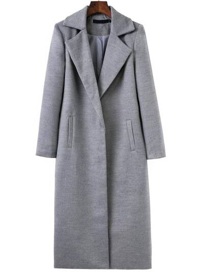 Grey Lapel Neck Pocket Long Coat