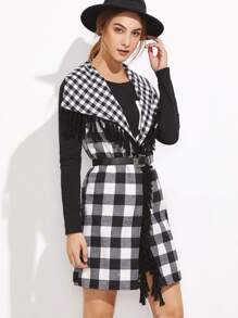 Black And White Checkered Drape Collar Tassel Trim Vest