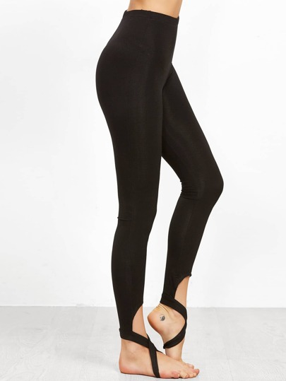 Black Crisscross Stirrup Leggings