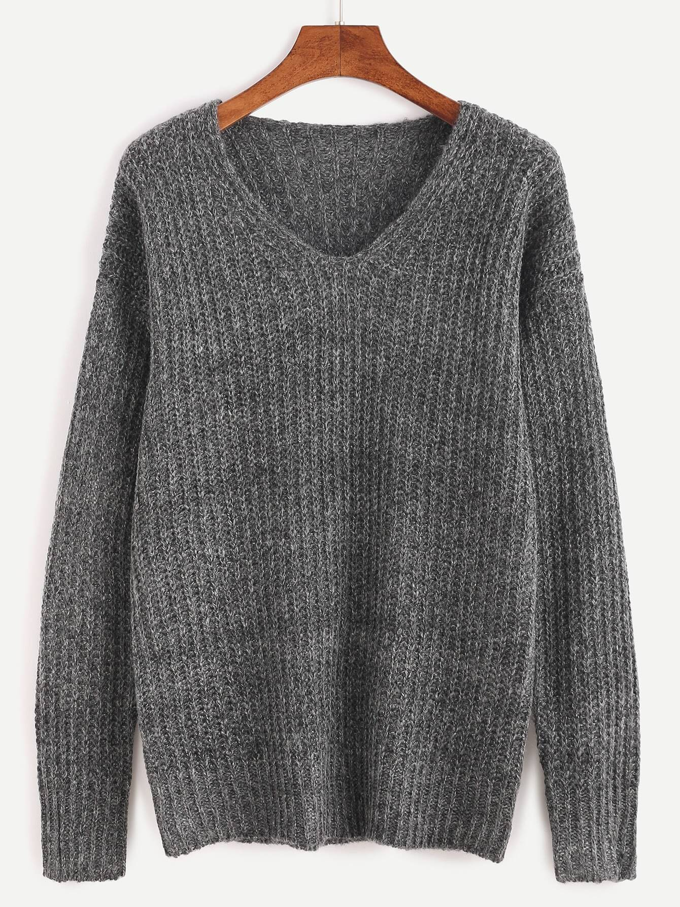 Grey Ribbed Knit Drop Shoulder Sweater sweater160920456A
