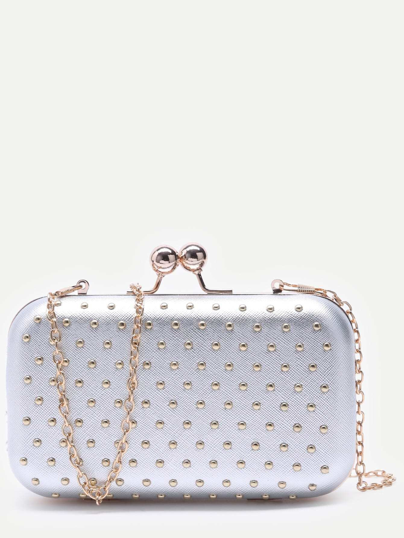 Silver Studded PU Evening Bag With Chain Image