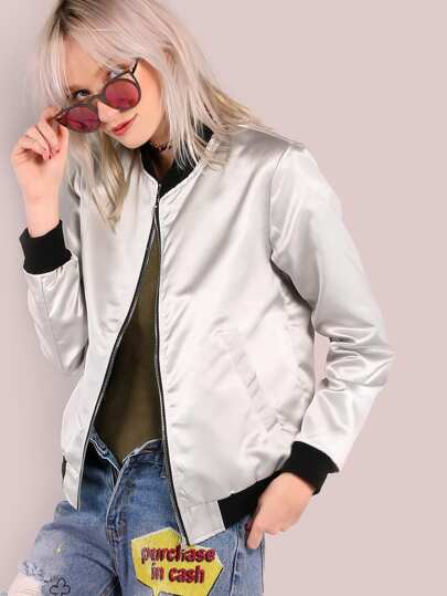 Sleek Metallic Bomber Jacket SILVER