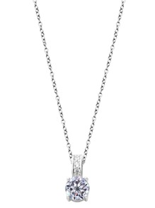 Silver Plated Rhinestone Pendant Necklace