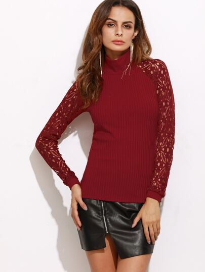 Burgundy High Neck Hollow Out Sleeve Ribbed T-shirt