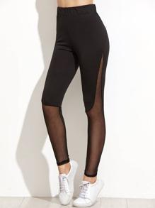Black Contrast Mesh Leggings