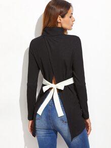 T-shirt col roulé dos avec lacet - noir